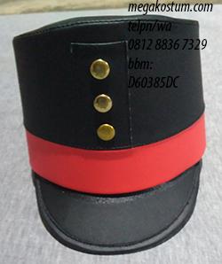 contoh jadi topi drumband merah hitam