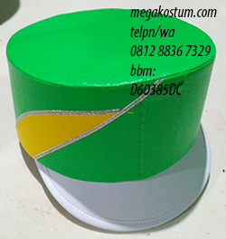 desain topi drumband hijau kuning putih