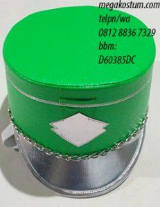 desain topi drumband hijau muda silver