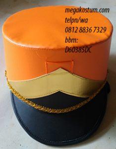 desain topi drumband orange