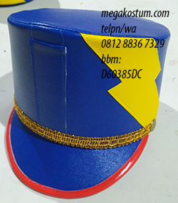 desain topi drumband biru halilintar
