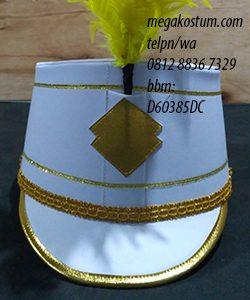 desain topi drumband putih