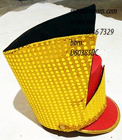 desain topi mayoret merah kuning